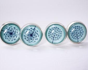 Dandelion cabochon earring studs