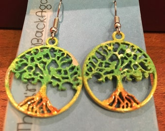 Yellow,Green&Rust HandPainted Tree of Life Earrings