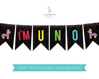First Fiesta High Chair Banner - Fiesta Party Banner - Fiesta Birthday Banner INSTANT DOWNLOAD