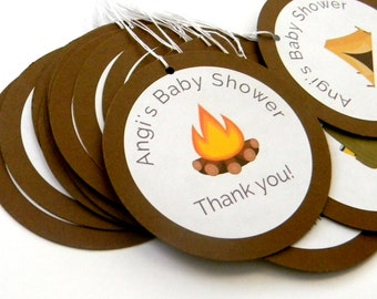 12 Camping Tags, Camping Theme, First Birthday, Birthday Tags, Campfire Theme, Outdoor Party, Camping Favors