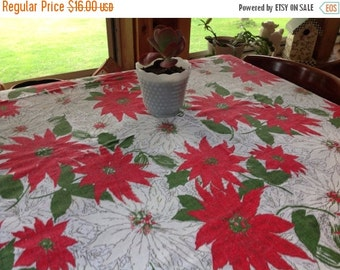 25%  Sale Event Christmas Holiday Tablecloth Vintage Christmas Tablecloth Vintage Holiday Tablecloth Poinsettia Tablecloth
