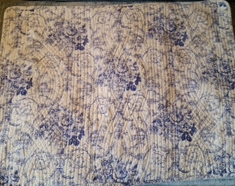 Standard Size Quilted Blue and White Toile Pillow Sham