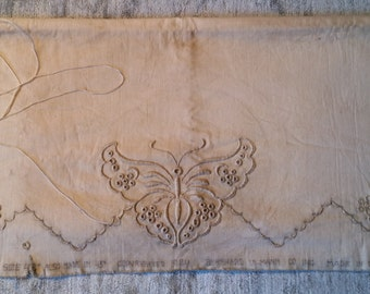 Antique Exquisitely Embroidered Standard Size Pillow Case To Finish - 100% Cotton - 1924