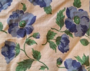 "1930's Feed Sack / Flour Sack Fabric - Blue & Green Floral - 17"" x 36"""