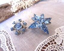 Vintage  Brooch , Blue  Rhinestone Brooch , Jewelry ,   Blue Brooch  - set of 3.