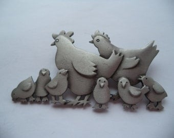 Vintage Signed JJ Silver pewter Hens and Chicks Brooch/Pin