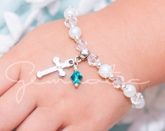 Personalized baptism gift, girls christening gift, first communion gift, children's birthstone bracelet, personalised christening gifts
