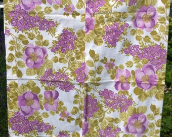 Purple and green floral fabric material  retro 1970s upcycle