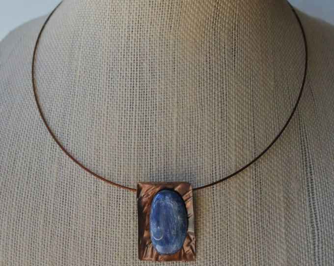 Blue Kyanite stone and copper Pendant necklace, rustic, blue necklace