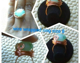 Wire wrapped ring, copper ring, wire wrapped jewelry