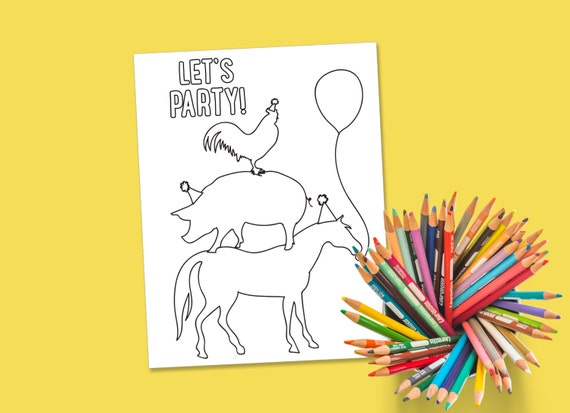 instant download petting zoo party custom coloring page party activity digital file animal. Black Bedroom Furniture Sets. Home Design Ideas
