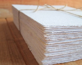 "White Handmade paper sheets, Recycled paper, Printing paper, Eco friendly Writing paper, Invitation paper, 5 sheets 8.5"" x 12"" 21 x 30 cm"