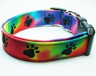 Blue, Orange, Yellow, Green and Red Tye Dyed with Black Paws Dog Collar