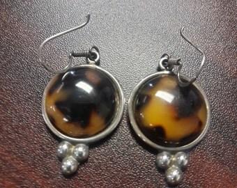 Tortoise Sterling Silver Earrings