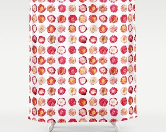 Pink Peony Shower Curtain - bright pink flower shower curtain, pink peonies bathroom decor, peonies shower curtain