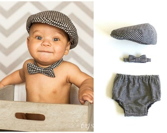 Baby boy cake smash outfit houndstooth newsboy hat, tie and bloomers, boy first Birthday outfit, 6 months photo prop, - made to order