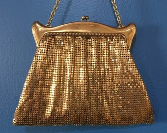 Vintage Whiting and Davis Gold Mesh Evening Bag with Accessory Pouch