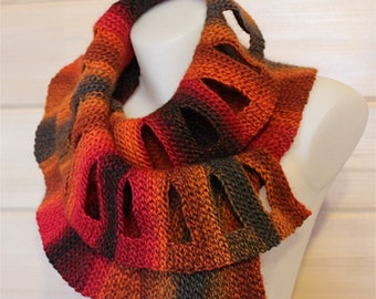 Crochet and knitting scarf pattern - Divina Scarf - pdf