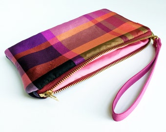 Purple Plaid Silk Phone Clutch