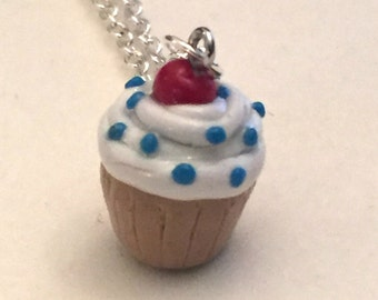 Cupcake with sprinkles necklace...cute! (polymer clay)