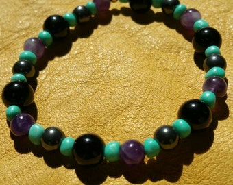 Amethyst, Jasper, and Hematite gemstome bracelet