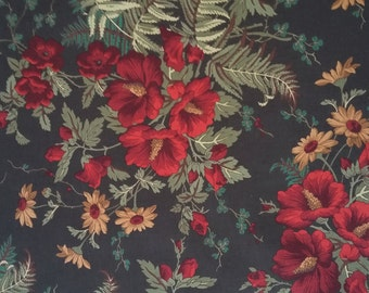 Brown Floral Fabric By The Yard