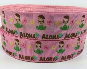 BTY 7/8 Inch Girls Aloha Hawaii Grosgrain Ribbon Great For Hair Bows Scrapbooking lanyards Lisa