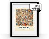 San Antonio Map Print - Full Color Map Poster