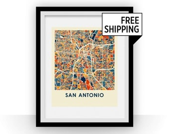San Antonio Map Print - Full Color Map Poster