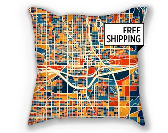Oklahoma City Map Pillow - Oklahoma Map Pillow 18x18