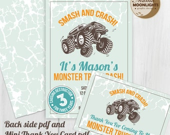 Monster Truck Birthday Party Printable Invitation With Back Side and Mini Thank You Card - DIY - Older Boy Best Birthday Invitation