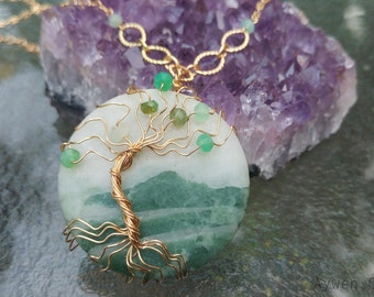 Mallorna - 22K Gold Plate Wire Wrapped Pendant with Chrysoprase Gems / Tree of Life / Mountain / Woodland / Yggdrasil / Irish / LOTR