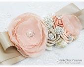 Wedding Sash Bridal Jeweled Flower Sash Custom Belt in Champagne, Blush, Ivory, Peach with Brooches, Handmade Flowers Blush Wedding