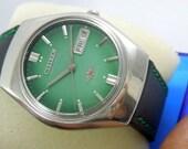 citizen 7 automatic watch vintage watch day date fine condition greenish dial 21J men wrist watch