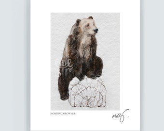 Brown bear print, grizzly bear art,