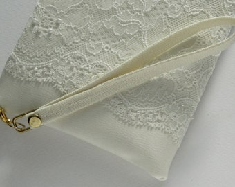 Bridal clutch Ivory  Satin clutch Ivory  lace  Pearls   Ivory Brides Purse  Ivory  Lace Purse Made to order