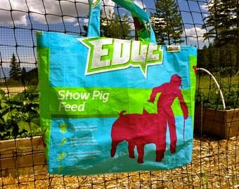 Upcycled Feedbag Tote. Show Pig Handmade in Kalispell, Montana USA. FREE USA Shipping