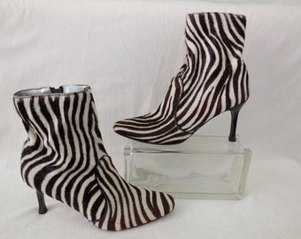 FAITH SOLO/Stiletto Ankle Boots/Pony Hair Boots/Zebra Print/High Heel Ankle Boots/Cowhide Ankle Boots/80s Vintage High Heel Boots/Size 9