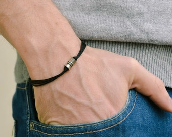 Men's bracelet with a silver tube charm and a black cord, bracelet for men, gift for him, gift for boyfriend, mens jewelry, for him, bead