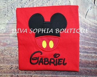 Mickey Mouse with Buttons Boy's Red T-shirt - Embroidered