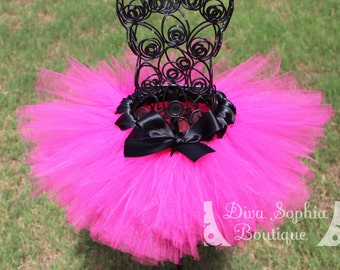 Hot Pink Tutu with Black Bow- Newborn Baby Infant Tutu - Toddler Tutu