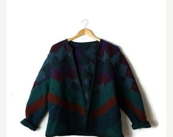 ON SALE Vintage Green x Blue/burgundy  Color block/Patchwork Wool Sweater Cardigan/Jacket from 80's*