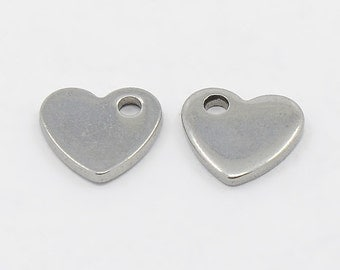 Silver, heart-shaped stainless steel blanks, logo design, 10 x 9 mm, various amounts