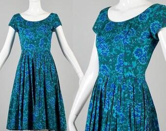 10% Off 50s Dress 1950s Dress Short Sleeve Dress 50s Blue Dress 50s Floral Dress Cotton Dress 50s Day Dress 50s Summer Dress 50s Casual Dres