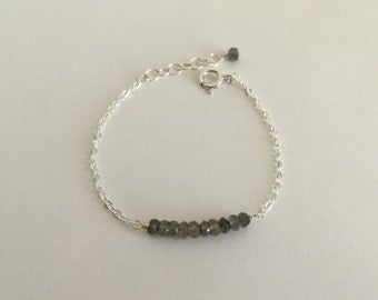 Labradorite Sterling Silver Friendship Bracelet - Layer Bar Bracelet, Birthday, Bridal Gifts for Her