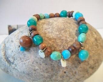 Beaded Turquoise Wood Shell Bracelet Stretch Jewelry Boho Coachella