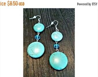 SHOP4FUN Turquoise Disc Drop Earrings Aqua Blue