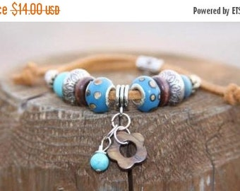 SHOP4FUN Turquoise Blue Bead Bracelet Brown Suede Cord Boho