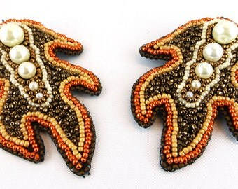 Barrettes, hair clips, jewelry, Bead Embroidery, Flame