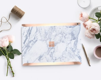 Platinum Edition Makrana White Marble with Rose Gold Edge Vinyl Skin for Microsoft Surface Book , Surface Laptop , Surface Pro 2017